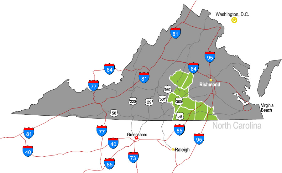 Map of Virginia's Growth Alliance economic development region showing highways & interstates