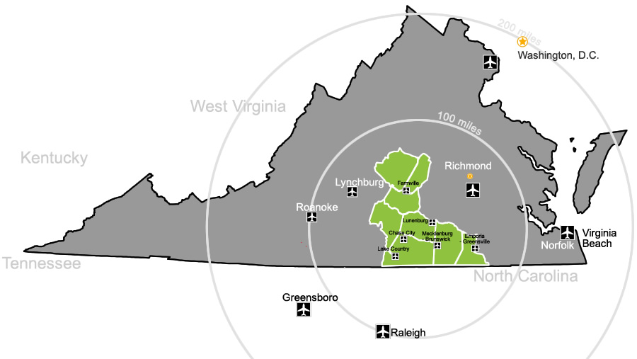 map of airports near Virginia' Growth Alliance
