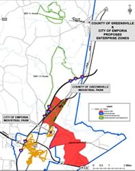 Joint Enterprise Zone Map Greensville County and Emporia City, VA