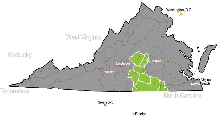Railroad access map of Virginia